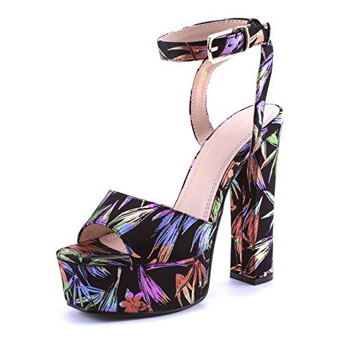 Mforshop scarpe sandali donna tacco alto largo plateau cinturino caviglia colorati 15-01 - colorato, 39
