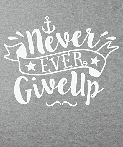 clothinx Damen T-Shirt Never Ever Give Up Sports Grey