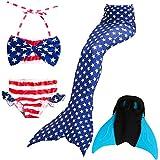 Das beste Mädchen Bikini Badeanzüge Schönere Meerjungfrauenschwanz Zum Schwimmen mit Meerjungfrau Flosse Schwimmen Kostüm Schwanzflosse - Ein Mädchentraum- Gr. 130, Farbe: Blau
