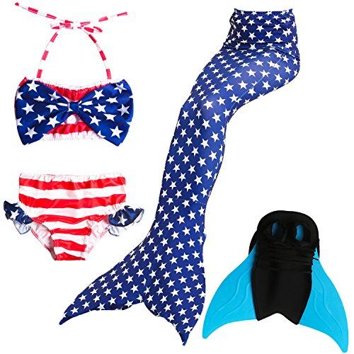 (Das beste Mädchen Bikini Badeanzüge Schönere Meerjungfrauenschwanz Zum Schwimmen mit Meerjungfrau Flosse Schwimmen Kostüm Schwanzflosse - Ein Mädchentraum- Gr. 130, Farbe: Blau)