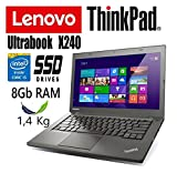 Notebook Ultrabook Lenovo ThinkPad X240 - Intel Core i5-8Gb RAM - 180Gb SSD - 12.5in IPS HD - Ultraleggero 1.4Kg (Ricondizionato)