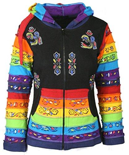 (Dark Dreams Gothic Witchy Pagan Ethno Psy Nepal Hoodie Zipfel - Kapuze Painted Rainbow 36 38 40 42 44 46 48, Größe:XXL)