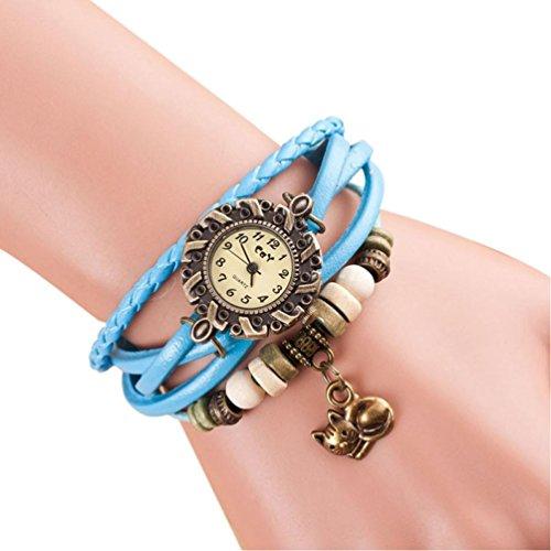 Vovotrade cuarzo tejido alrededor de cuero gato brazalete muñeca reloj de pulsera para mujer señora (cielo azul)