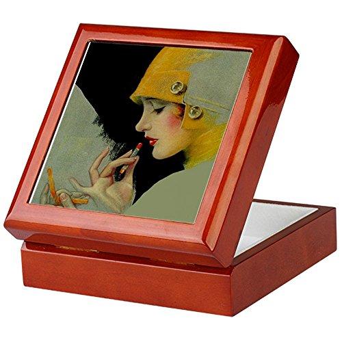 CafePress-Art Deco sneakerfreakbegierde Flapper mit Lippenstift keepsak-Keepsake Box, fertig Hartholz Jewelry Box, Samt Gefüttert Memento Box mahagoni -