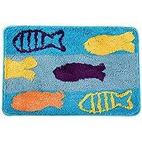 CS Cojín Absorbente de agua y antideslizante Alfombra de suelo Hall Cojín de inodoro Cartoon Fish Soft Fiber Dense ( Size : 60*90cm )