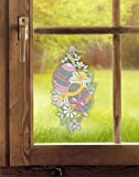 Plauener Spitze Fensterbild Osterüberraschung (BxH) 14 x 26 cm inkl. Saughaken Fensterdeko