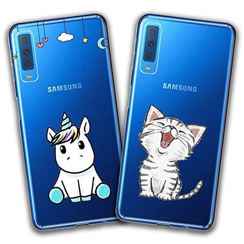 kaliter Samsung Galaxy A7 2018 Custodia,Chat e personalità Unicorno Morbido Trasparente TPU Gel Silicone Protettiva Smartphone Cover per Samsung Galaxy A7 (2018) (6,0 Pollici)