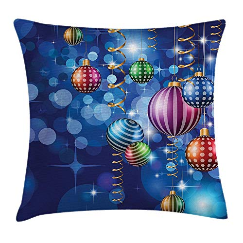 Christmas Throw Pillow Cushion Cover, Happy New Year Party Celebrations with Swirling Ornaments and Balls Festive Print, Decorative Square Accent Pillow Case, 18 X 18 inches, Blue Gold