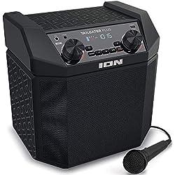 ION Audio Tailgater Plus – Enceinte Bluetooth Portable 50 W avec Batterie Rechargeable Intégrée, Radio AM/FM et Microphone Haute Définition Inclus