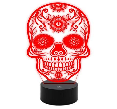 Generico lámpara LED de mesa calavera mexicano tatuaje tribal Idea regalo original cumpleaños y para cada ocasión Elige a hasta 7colores con Touch Decoración Casa Tienda