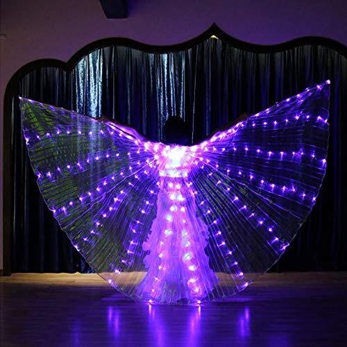 CPDZ LED leuchtende Glow Light Flügel tanzen Requisiten Bauchtanz vereinfachte Version des weißen Lichts Dance Costumes Performance Clothing Karneval (Glow Stick Outfit)