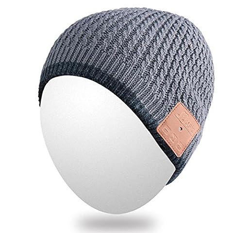 Téléphone Qshell Bluetooth Outdoor Bonnet avec sans fil Bluetooth Casques Ecouteurs Musique audio mains-libres Appel à la séance d'entraînement d'hiver Ski Randonnée Jogging Sport Fitness Gym Exercice -