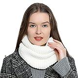 Bufanda de lana de invierno tipo cuello suave y cálida para mujer con diseño de punto - Blanco