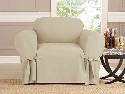 Kashi Micro-suede Slipcover Sofa Loveseat Chair Furniture Cover (Chair, Taupe) by Linen Store (Slipcover Loveseat Sofa)