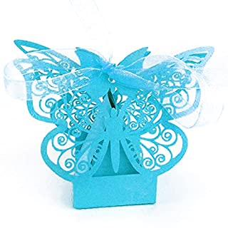 Little Snow Direct 20pcs Butterfly Luxury Boxes With Organza Ribbons Wedding Party Favour Laser Cut Sweets Cake Candy Gift Favor - Turquoise / Aqua