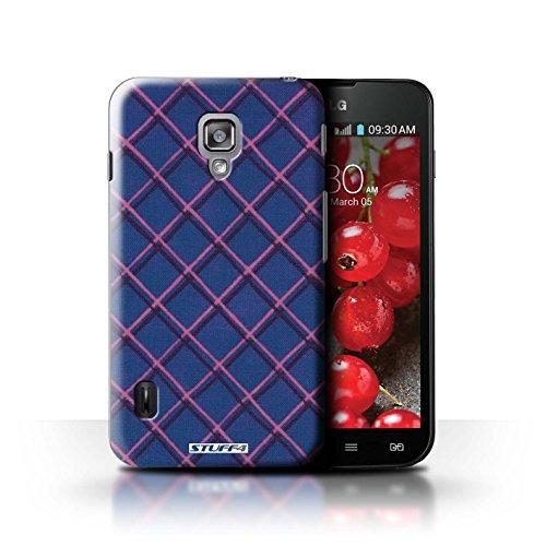Kobalt® Imprimé Etui / Coque pour LG Optimus L7 II Dual / Jaune conception / Série Motif Entrecroisé Bleu
