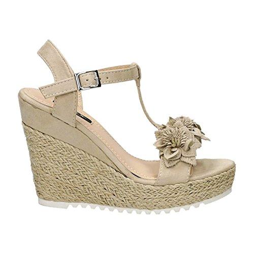 Trendige Damen Riemchen Sandaletten Pumps Keilabsatz Keilpumps High Heels Peep Toes Schuhe Bequem 02 Beige