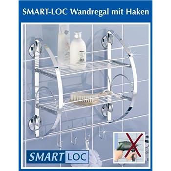 WENKO Smart-Loc Badregal - ohne Bohren - Bad Ablage mit Haken ...