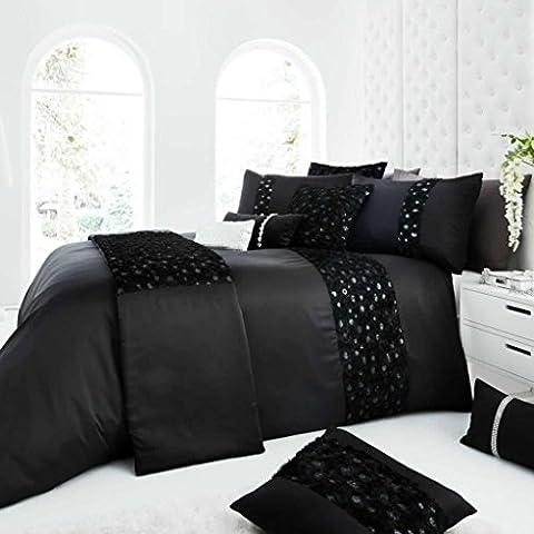 Roselles Luxury Roses Duvet Cover Bedding Set, Double, Black