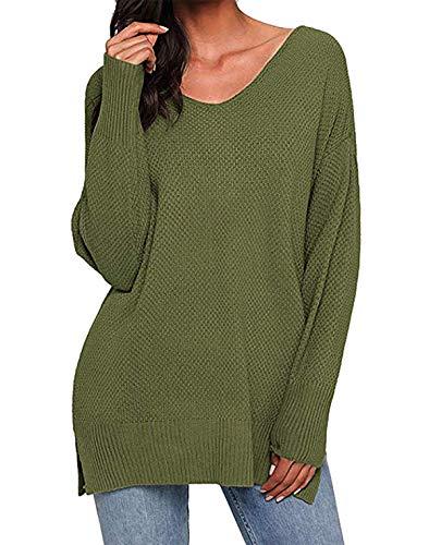 Kenoce Damen Pullover V-Ausschnitt Casual Strick Oberteile Langarm Elegant Einfarbig Puli Oberteile Grün XL=EU 46