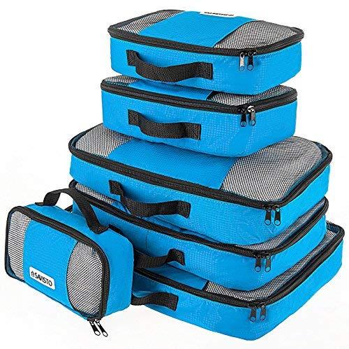 Savisto Packing Cubes, 6-teiliges Packtaschen Set für Urlaub, Reisen, Flugreisen - Ordnungssystem für Koffer, Handgepäck, Trolley, Reisetasche und Rucksack - Packwürfel in 7 Farben - Blau