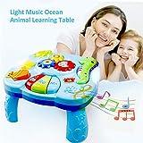starter Baby Lerntisch - Baby Toys Musikalische Lerntisch Wassertiere Musik Aktivität Center Spieltisch Kleinkinder, Kleinkind, Kinder Spielzeug für 1 2 3 Jahre alt Jungen & Mädchen