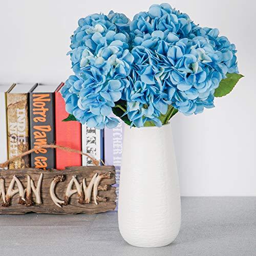Tyeers fiori di ortensia artificiale 5 testa di ortensia artificiale in seta per decorazione di matrimonio giardino hotel festa e spiaggia - blu