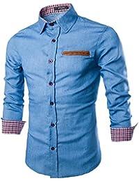 COCO clothing Herren Langarmhemd Schlank Jeanshemd Lässige Businesshemd  Dünne Freizeithemd Mode Cosy… 30e33672f8