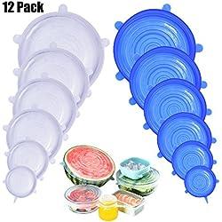 DigHealth 12 Pièces Couvercles en Silicone, Couvercle Extensibles en Silicone sans BPA, Couvercle Universel de 6 Tailles Differentes pour Micro-Ondes/Le Four/Le Frigo/Le Lave-Vaisselle