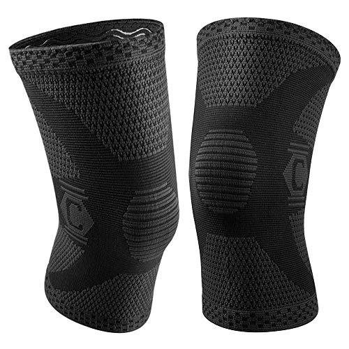 CAMBIVO 2 x Kniebandage, Knieschoner, Knee Sleeves für Damen und Herren, Laufen, Wandern, Joggen, Sport, Volleyball, Crossfit (60 Schwarz, XL)