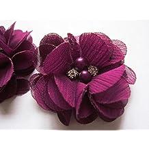 20 flores de gasa de YYCRAFT, 5 cm, con perlas de imitación, para