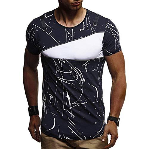 Camisetas Hombre Manga Corta, Moda Personalidad Camuflaje Hombres Casual Slim Manga Corta Camisa Blusa Superior