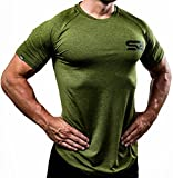 Satire Gym Fitness T-Shirt Herren - Funktionelle Sport Bekleidung - Geeignet Für Workout, Training - Slim Fit (M, olivgrün meliert)