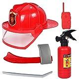 Xiton Feuerwehrmann Rucksack Feueranzug Werkzeug und Feuerlöscher und Feuerschutzkappe für Kinder 1PC (Feuerwehranzug Werkzeug + Feuerlöscher + Hut )