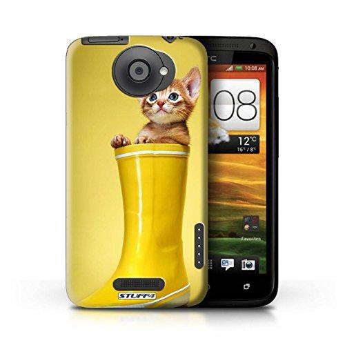 Kobalt® Imprimé Etui / Coque pour HTC One X / Miroir conception / Série Chatons mignons Botte en caoutchouc