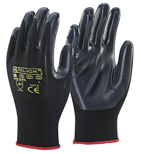 Beschichtete Arbeits-handschuhe (10 Paar - Click 2000 Please Nitril beschichtete Arbeits- Handschuhe Schwarz Größen L & XL - Schwarz, Large)