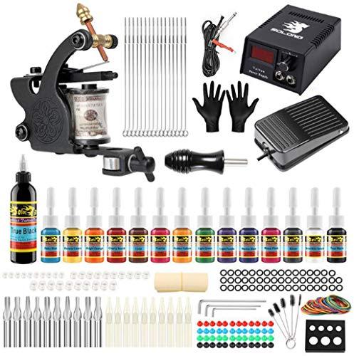 Sjhsaiu stigma tattoo machine set set completo di filo di rame pura con 14 scatole di inchiostro a colori e la pratica pad potere professionale pedali tattoo equipment