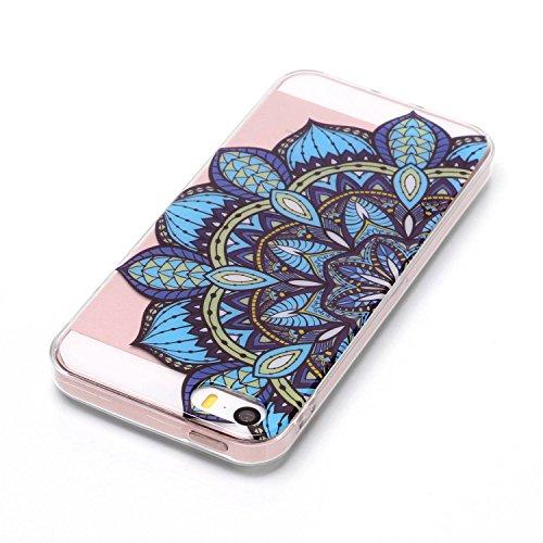 Custodia iphone SE/5/5s - Cover iphone SE/5/5s - Cozy Hut Case per iphone SE/5/5s [Ultra-Thin] Air Skin [Soft Clear] Premium Semi-transparent Super Lightweight, Custodia per iphone SE/5/5s - Fiore mez Fiore mezzo mezzo