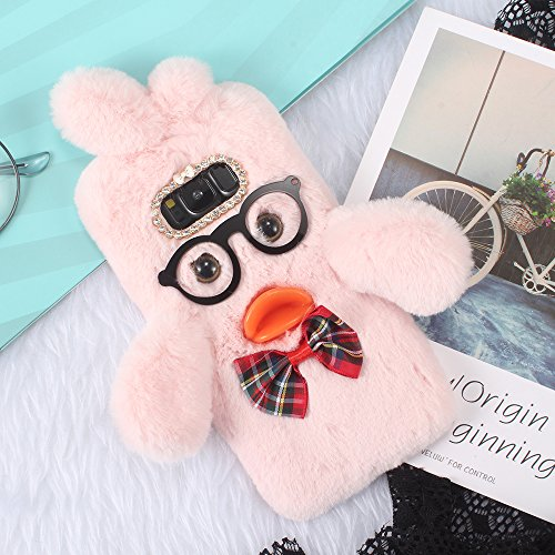 SevenPanda Honor 8 Lite 3D Lovely Hülle, Huawei P8 Lite 2017 Hülle Duck Dr Plüsch Ente Case Handgefertigt Schutzhülle Brille Crystal Strass Bogen Handyhülle für Huawei P9 Lite 2017 - Rosa