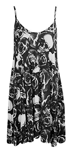 Fast Fashion Frauen Kleid Gurt Rose Schädel Check Würzigen Boom Drucken Schaukel