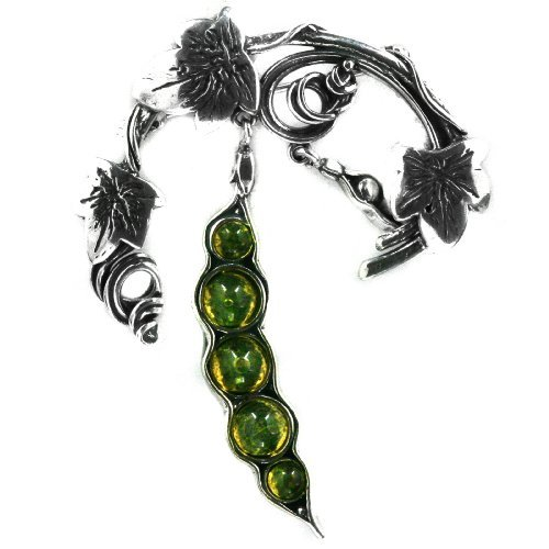 Green Amber Sterling Silver Little Museum Collection Beans Pin