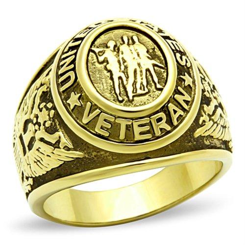 ISADY - US Veteran Gold - Herren-Ring - 585er 14K Gold platiert - T 67 (21.3)