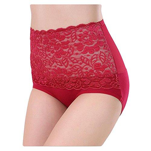 Surker Frauen-Taillen-Spitze-Unterw?sche (9 Farbe) Rot