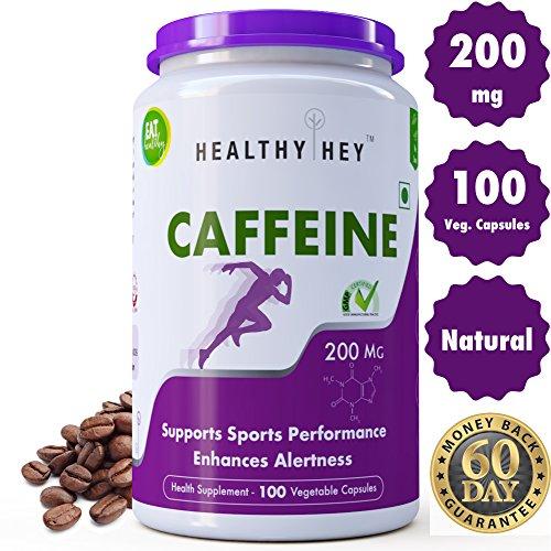 HealthyHey Caffeine Capsules (200 mg) - 100 Veg Capsules (Pack of 1)