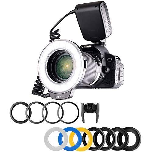 Flash annulaire pour Canon, Nikon, Panasonic, Olympus, Pentax SLR, RF-550D Macro Ring Flash 48 LED avec 8 adaptateurs et 4 Anneaux diffuseurs de Flash Transparent, Blanc Opaque, Jaune et Bleu