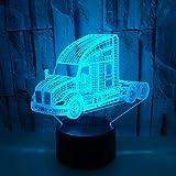 Veilleuse 3D, camion de dessin animé, télécommande tactile, cadeaux d'éclairage intelligents pour la maison art déco