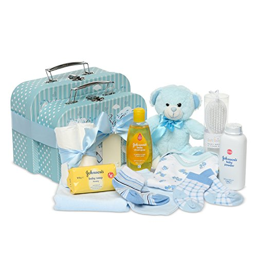 Newborn Baby Gift Set– 2 Keepsake Boxes in Blue with Teddy Bear, Baby Clothes and Gifts for a New Baby Boy