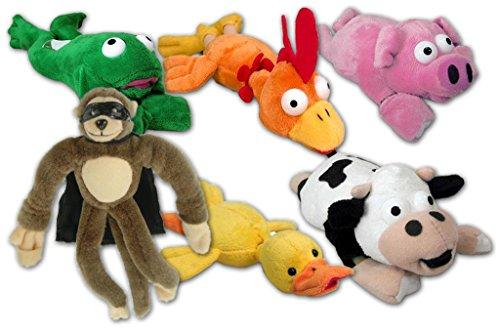 Flying Black Duck (Flingshot Slingshot Stuffed Animal Toys - Flying Brown Monkey, Yellow Duck, Super Frog, Orange Chicken, Pink Pig, Black & White Cow - Bundle Pack)