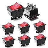 8 x Interruptor Basculante Luz Iluminado Rojo On/Off DPDT 4 terminales 16A 250V /20A125V AC