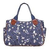 Miss Lulu Ladies Handbag Fashion Pattern Shoulder Tote Bags for Women Girls (1105-16J Navy)